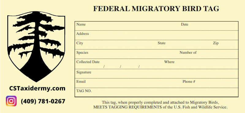 Federal Migratory Bird Tag For Shipping Waterfowl To Taxidermy